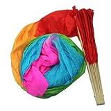 Pinzhi Hecho a mano colorido danza del vientre de seda de bambú de los ventiladores largos velos