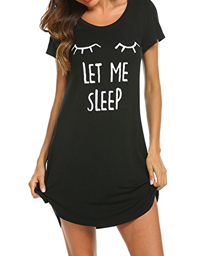 Hotouch Camisón para mujer, manga corta, para dormir, camisas de noche, cómodas tallas S-XXL, Negro, L