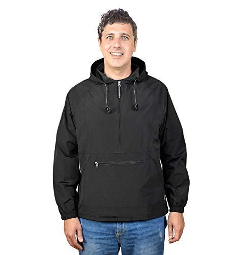 Outdoor Shaping Men's Pullover Rain Jacket Hooded Windbreaker Raincoat Waterproof Lightweight, Black, Medium