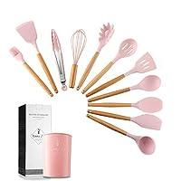 esonmus set di 11 utensili da cucina in silicone con manici e supporto in legno, resistente al calore e antiaderente, e manici in legno, senza bpa (rosa)