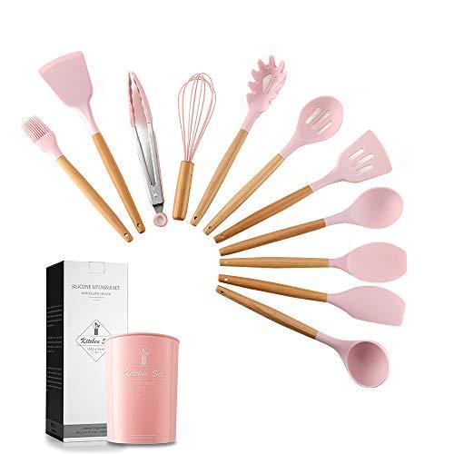 esonmus Utensilios Cocina Silicona11 Piezas+ Barril Antiadherente de Silicona 1Piezas, Cuchara Silicona Cocinar con Mango de Madera, Resistente al Calor Juego de Utensilios de Cocina, Fácil de Limpiar