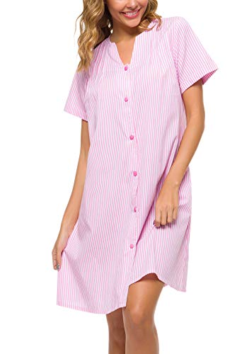 YOZLY House Dress Women Cotton Duster Robe Short Sleeve Housecoat Button Down Nightgown Pink