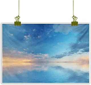Chinese Classical Oil Painting Inside Out Sky and Sea Looks Like Combined in Horizon Ocean Clouds Tranquil Peace Theme Blue Modern Minimalist Atmosphere 20