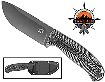 Off-Grid Knives - Tracker-X D2 Tool Steel Fixed Blade Knife, Full Tang with Grippy Micarta Scales, Kydex Sheath, Bushcraft, Hunting, Survival, Camping, Hard-Use Tool (Blackwash)