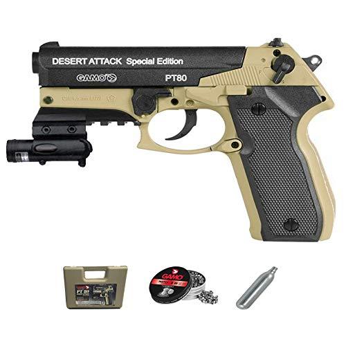 Gamo PT-80 Dessert Atack LÁSER versión | Pistola de Aire comprimido (CO2) y balines (perdigones 4.5mm) + Accesorios. <3,5J