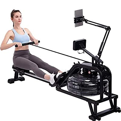 ECHANFIT Water Rowing Machine Rower with Water Resistance System and Extra Tablet Holder 300LB Max Weight Capacity Cardio Exercise Training for Home Use