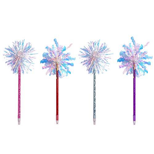 Bolígrafos de punta redonda de seda Stobok, 4 unidades, brillantes, coloridos, varita mágica para decoración de fiestas (patrón mixto)