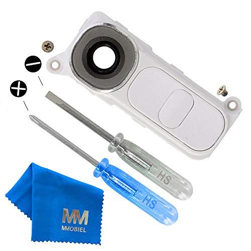 MMOBIEL Reemplazo de Lente para cámara Trasera (Posterior) con Cubierta Compatible con LG G4 (Blanco) Incl. Pinzas y Limpiador