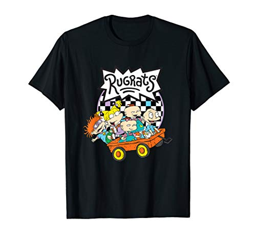 Rugrats Logo Checkerboard With Kids In Wagon T-Shirt