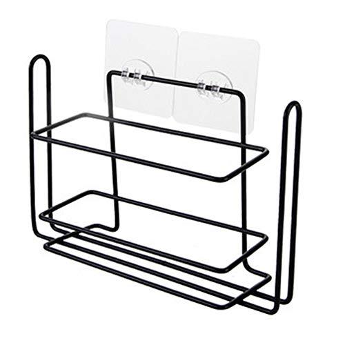 Yadass Estantería de pared lateral para frigorífico, sin perforación, compacta, adecuada para guardar objetos pequeños en frigoríficos y aseos (negro)