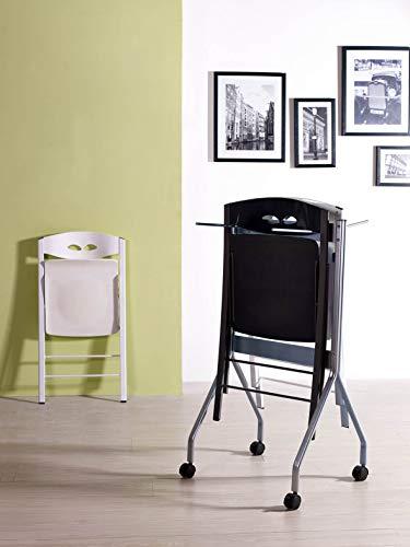 VOLERO' SHOPPING ONLINE, Carrello Porta Sedie Pieghevoli, Struttura in Metallo Color Argento, Dimensioni:105cm - 60cm - 54cm, capacità: 8 sedie