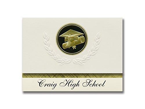 Signature Announcements Craig High School (Craig, AK) Abschluss-Ankündigung, Presidential Style, Basispaket mit 25 Kappen und Diplom-Siegel, Schwarz/goldfarben