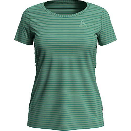 Odlo T-Shirt Concord Element à Manches Courtes pour Femme, crème de Menthe – Quetzal Green – Stripes, L