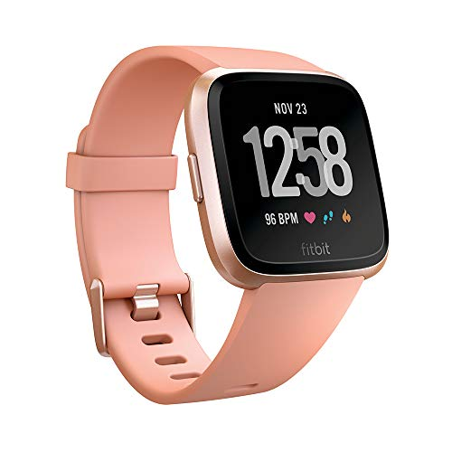 Fitbit Versa Smart Watch, Peach/Rose Gold Aluminium, One...