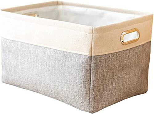 Cesta de lavandería de lino de algodón rectangular grande con manijas incorporadas Cesta de almacenamiento plegable Dormitorio de juguete multifuncional Ropa Clasificación Cesta-blanco incomparab