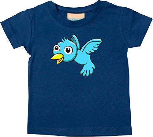 Shirtstown Bebé Kids-T, Pájaro Gorrión Bird Animales Animal Natural - Azul Marino, 0-6 Monate