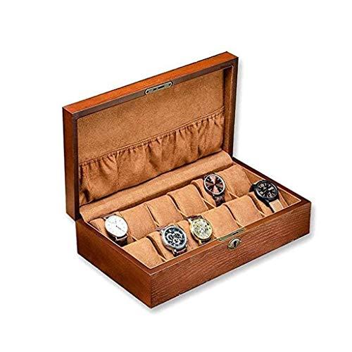 pojhf GYDSSH Reloj de la joyería Caja de Hombres 12 Ranura de la Caja de Reloj, de Madera Grande exhibición del Reloj del Organizador del Caso