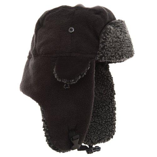 Textiles Universels Bonnet Trappeur en Polaire - Adulte Unisexe (59cm) (Noir)