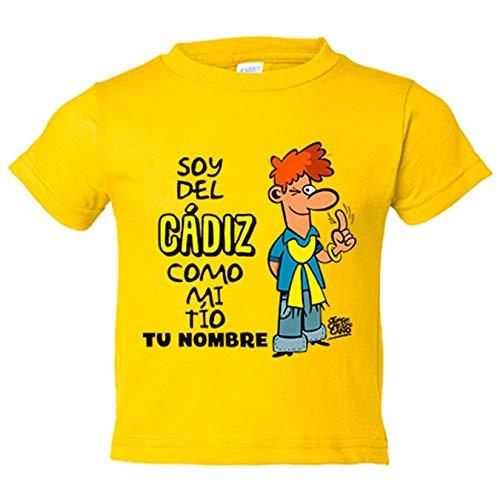 Camiseta niño soy del Cádiz como mi tio personalizable con nombre - Amarillo, 12-14 años