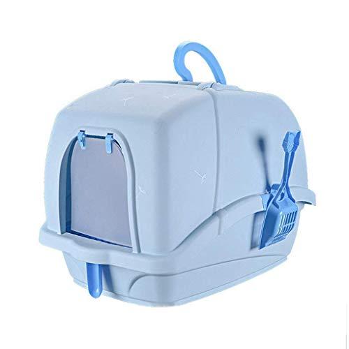 Cat Lettiera di lettiera grande con cappuccio completamente chiuso con coperchio, toilette for animali domestici pulito facile con scoop carino manico porta a flap porta Jialele ( Color : Blue )
