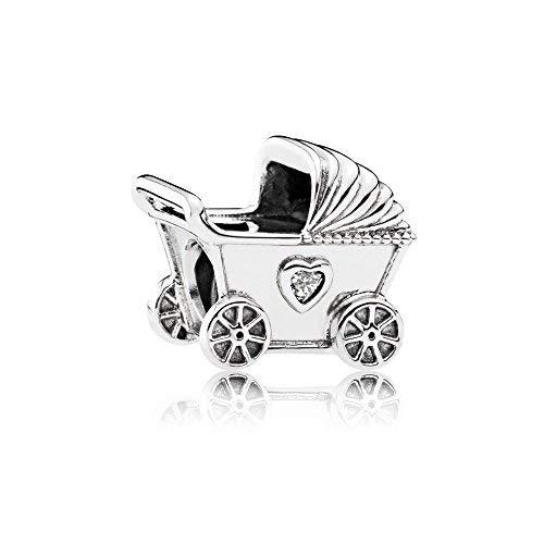 Pandora 792102CZ Charm - Cochecito de bebé para mujer, plata de ley