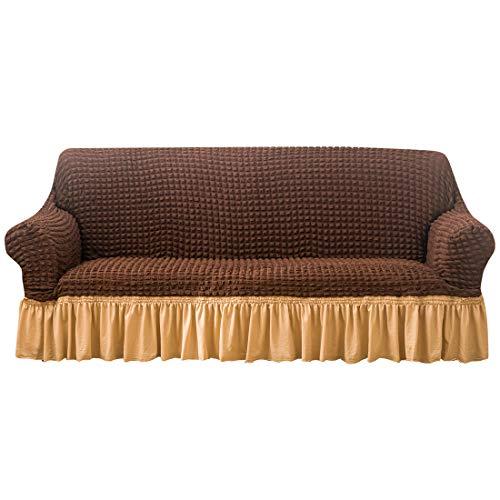 Wenlia Funda de sofá con falda, funda universal de alta elasticidad, 1 unidad, protector universal para sillón Seersucker con falda de volantes 1, 2, 3, 4 plazas
