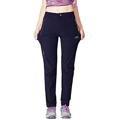 Donhobo Damen-Wanderhose, schnelltrocknend, ultraleicht, UV-Schutz, langlebig, Camping-Hose mit Reißverschlusstaschen L navy