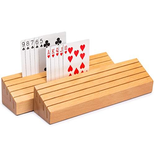Yellow Mountain Imports Juego de 2 soportes para tarjetas de madera maciza de haya.