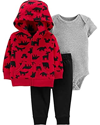 Carter's Baby Boys' 3 Piece Cardigan Set (Red, 6 Months)