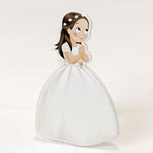 Mopec 2D-figuren voor communie, lange jurk en kroon, hout, wit, 0,5 x 7 x 11 cm, 6 stuks
