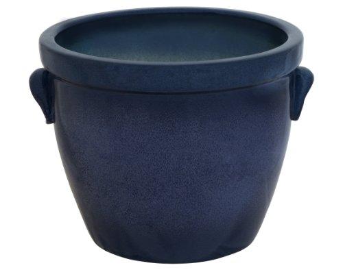 K & Venus II Pot de fleurs en céramique avec poignée Bleu marbré 36 x 26 cm