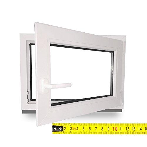 Kellerfenster - Kunststoff - Fenster - weiß - BxH: 60X45 cm - DIN Links - 2-Fach Verglasung - Wunschmaße ohne Aufpreis - Lagerware