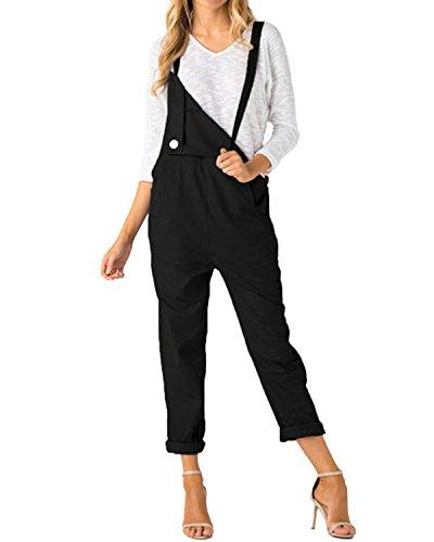 ACHIOOWA Donna Pantaloni Salopette Jeans Largge Tuta Casual da Taschino con Tracolla Elegante Pantaloni Gamba Moda Tasche Sciolto Solido Colore Ufficio Taglie Forti 897663-Nero XL