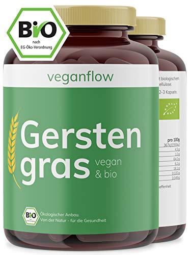 veganflow® BIO Gerstengras Kapseln, hochdosiert, 180 Kapseln (vegan) je 1500 mg pro Tagesdosis mit hohem Nährstoffgehalt