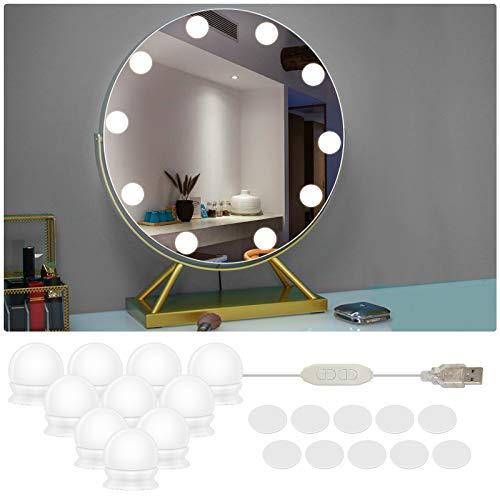 LED Spiegelleuchte, 10 LED Schminktisch Beleuchtung Hollywood Stil Dimmbar Spiegellampe Make up Licht Spiegel Beleuchtung für Schminkspiegel Schminktisch Leuchte