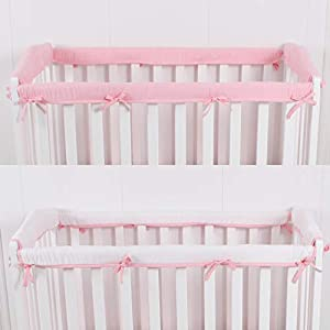 CaSaJa 4-Piece Mini Crib Rail Cover Set for Entire Mini Crib Rails 24in x 38in, Safe Breathable Padded Batting Inner for Baby Teething Guard, Soft Reversible Mini Crib Rail Protector Wraps, Pink
