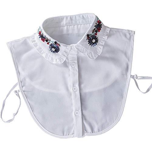 Joyci Chic Lady Colarinho falso Diamante Cristal Meia blusa Colarinho falso Dickey, B White, One Size
