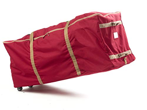 Covermates Keepsakes Christmas Tree Storage Rolling Cinch Bag – Superior Protection – Fits Up to 9 to 11 Foot Tree - Holiday Storage - Red