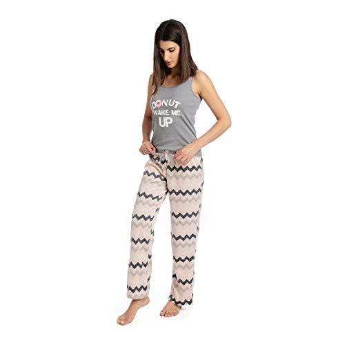 Body Candy Junior's Knit Pajama Tank Top with Luxe Fleece Sleep Pants, Gray, Medium