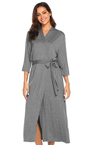 Morgenmantel Damen Bademantel Lang Kimono 3/4 Arm Schlafanzug Sexy Dünn Nachtwäsche Seide V Ausschnitt Nachthemd Umstand Frauen Grau L 42 44 Sleepwear für Schwangere