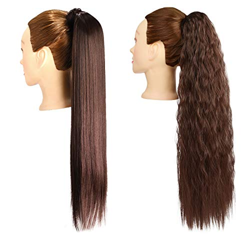 2 pezzi 24 pollici lunghi marrone scuro lisci e ricci coda di cavallo estensione dei capelli avvolgere estensioni coda di cavallo clip sintetica in parrucchino per le donne
