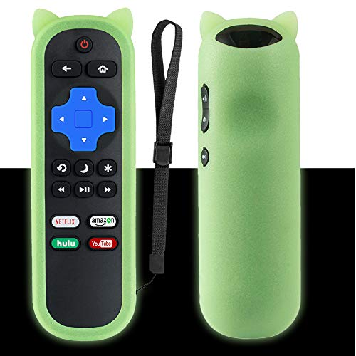 Replacement Remote Compatible with Roku TV + Liminescence Green Remote Case, Universal for Hisense/Sharp/TCL/ONN/Element/Hitachi/LG/Sanyo/JVC/Magnavox/RCA/Philips/Westinghouse Roku Smart TV Remote