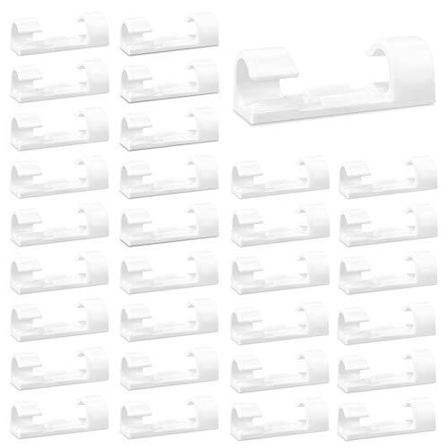 Kabelclips 100 Stücke Kabelklemmen Runden Kabelhalter Kabel Organisator Plastik Wand Halterung Kabelschelle mit Selbstklebenden Pads für Büro Hause Auto Schreibtisch Stromkabel (Weiß)