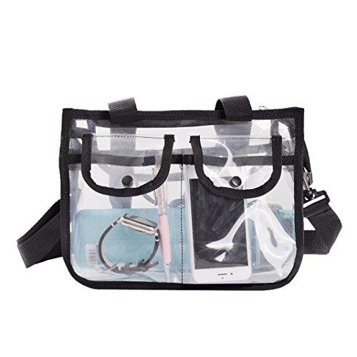 Asnlove Kosmetik Handtasche, Damen Handbag Tasche für Strand, Pflegeprodukte Oder Kosmetik Tragetasche Transparent Fashion Freizeit Sandstrand Handtasche durchsichtig Handbag, Schwarz