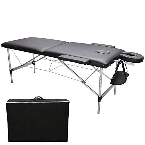 Hengda Camilla de masaje portátil de 2 zonas, plegable, altura regulable, banco de masaje, cosméticos, patas de aluminio