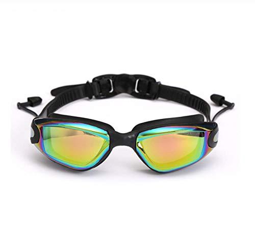 WHXJ Gafas De Natación Gafas De Natación Profesionales con Tapones para Los Oídos Clip De Nariz Galvanoplastia Anti-Niebla UV Silicona Impermeable