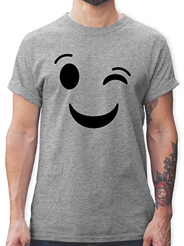 Karneval & Fasching - Zwinker Emoticon Karneval - XL - Grau meliert - lustiges Herren t-Shirt - L190 - Tshirt Herren und Männer T-Shirts