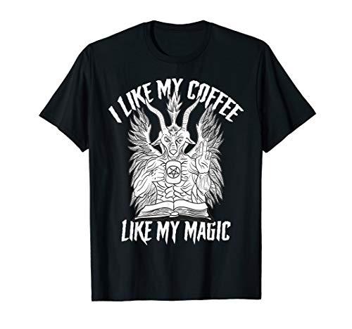Baphomet Ziege Ich mag meinen Kaffee Black Magic Pentagramm T-Shirt