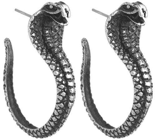 2LIVEfor Ohrstecker Creolen Schlange Hoop Ohrringe Tier Silber hängend Gothic Kobra Ethno witzige Ohrhänger Vintage Punk Creole Hoop
