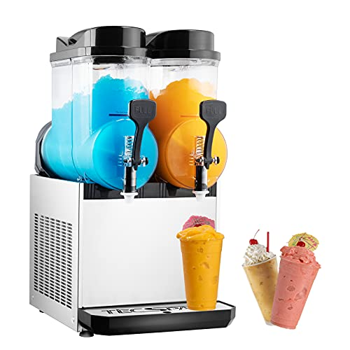 TECSPACE 110V 2 Tank 30L Commercial Slushy Machine 1050W, Stainless Steel Margarita Smoothie Frozen Drink Maker for Cocktail Ice Juice Tea Coffee Making, Sliver